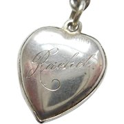 'Rachel' Sterling Silver Puffy Heart Charm - Bright-cut Floral