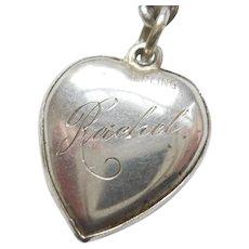 'Rachel' Sterling Silver Puffy Heart Charm - Bright-cut Floral