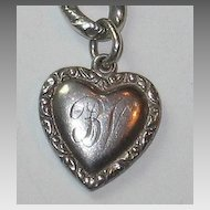 Smaller Double-sided Sterling Silver Puffy Heart Charm - Repousse Border - Engraved 'BV'