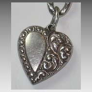 Sterling Silver Asymmetrical Repousse Puffy Heart Charm - Gorgeously Engraved 'PH'