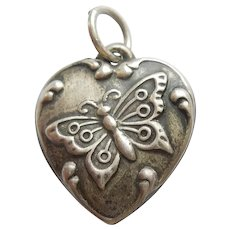 Butterfly Sterling Silver Puffy Heart Charm