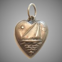 Engraved 'Jean' - Sterling Silver Puffy Heart Charm - Sailboat