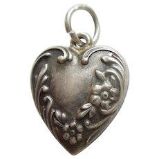 Engraved 'Robert' - Sterling Silver Repousse Puffy Heart Charm - Asymmetrical Floral