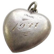Engraved '1941' - Plain Sterling Silver Puffy Heart Charm