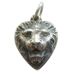 Engraved 'Nell' Ferocious Repousse Lion Face Sterling Silver Puffy Heart Charm - Leo Zodiac Sign