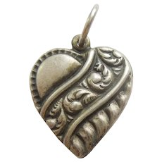 Engraved 'Patty' - Sterling Silver Puffy Heart Charm – Repousse Banner with Paisley Swirls