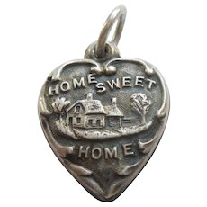 Engraved 'Gloria' - 'Home Sweet Home' Sterling Silver Puffy Heart Charm