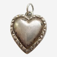 Engraved 'Erma Jean' - Double-sided with Narrow Repousse Border Sterling Silver Puffy Heart Charm