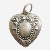 Engraved 'Newell' - Elegant Repousse Cartouche Sterling Silver Puffy Heart Charm