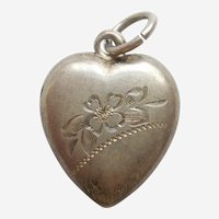 Etched Floral Sterling Silver Puffy Heart Charm