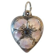 Pale Lavender Enamel Pansy Flower - Sterling Silver Puffy Heart Charm