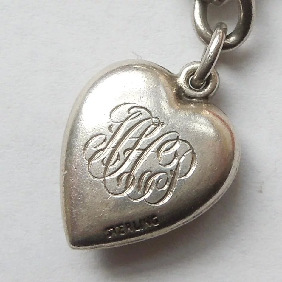 Sterling Silver Puffy Heart Charm – Repousse Swag with ...