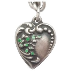 Sterling Silver Puffy Heart Charm ~ Enameled Forget-Me-Not ~ Engraved 'Susan'