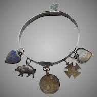 Sterling Silver Victorian Bangle Charm Bracelet - Puffy Hearts, Pig, Love Tokens