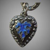Sterling Silver Puffy Heart Charm - Blue Enamel Leaf - Engraved 'MS'