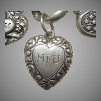 Sterling Silver Puffy Heart Charm – Double-sided Paisley Repousse Border – Engraved 'MFU'