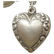 Sterling Silver Puffy Heart Charm - Repousse Border - Engraved 'Betty'