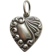 Engraved 'Mother' - Sterling Silver Repousse Puffy Heart Charm - Asymmetrical Plumes