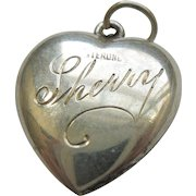 """Engraved 'Sherry' - Sterling Silver Puffy Heart Charm Traditional """"Forget Me Not"""""""