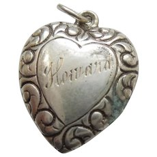 Engraved 'Howard' - Sterling Silver Puffy Heart Charm Repousse Paisley Border