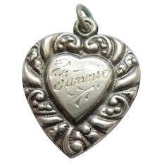 Engraved 'Fannie' - Larger Sterling Silver Repousse Puffy Heart Charm - Double-sided Heart-in-Heart