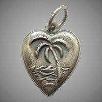Sterling Silver Puffy Heart Charm – Repousse Palm Tree and Waves - Tropical Island Vacation