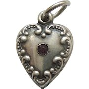 Engraved 'Shirley' - Smaller Sterling Silver Puffy Repousse Heart Charm with Garnet Paste Stone