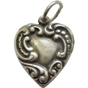 Engraved Initial 'C' - Sterling Silver Puffy Heart Charm - Asymmetrical Repousse