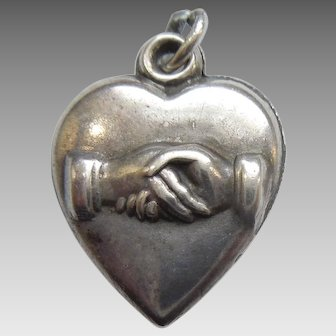 Engraved 'Maurice' - Victorian Friendship Handshake Sterling Silver Puffy Heart Charm