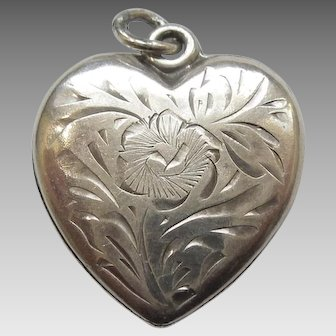 Walter Lampl - Unusual Floral-etched Sterling Silver Puffy Heart Charm