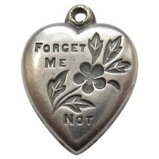 Classic 'Forget Me Not' Sterling Silver Puffy Heart Charm