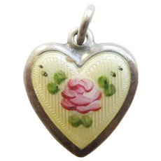 Engraved 'Nadine' - Sterling Silver Puffy Heart Charm – Yellow Guilloche Enamel with Pink Rose