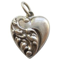 Engraved 'Charlotte' - Sterling Silver Puffy Heart Charm - Deeply Carved Repousse