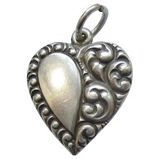 Engraved 'Carolyn' - Sterling Silver Asymmetrical Repousse Puffy Heart Charm