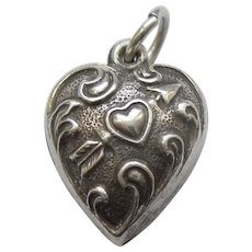 Engraved 'Terry' - Extra Chubby Sterling Silver Puffy Heart Charm  - Repousse Heart Pierced with Arrow
