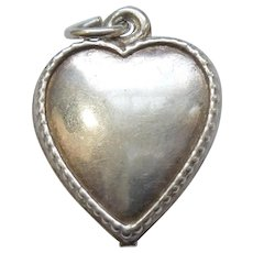 Sterling Silver Puffy Heart Charm with Beaded Edge