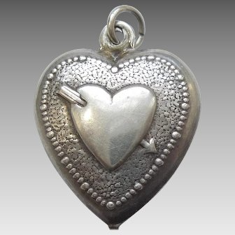 Slightly Larger Sterling Silver Puffy Heart Charm - Double-sided Heart Pierced with Arrow - Engraved 'VM'