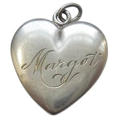 Engraved 'Margot' - Larger Sterling Silver Puffy Heart Charm