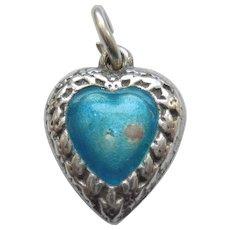 Fleur-de-Lis Solid Sterling Silver Puffy Heart Charm - Teal Enamel