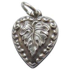 Engraved 'Joyce' - Sterling Silver Puffy Heart Charm -Grape or Oak Leaf