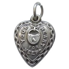Engraved 'Georgina' - Sterling Silver Puffy Heart Charm 'Your Heart For Keeps'