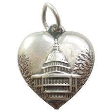 Washington DC Capitol Building Sterling Silver Puffy Heart Charm