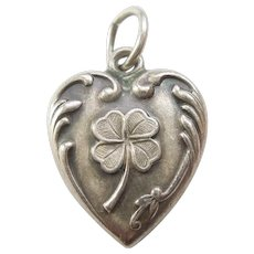 Lucky Four Leaf Clover Sterling Silver Puffy Heart Charm