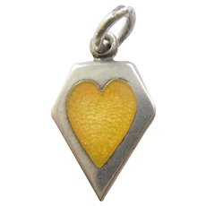 Sterling Silver Memory Heart Charm - Yellow Enamel - Engraved 'Margaret'