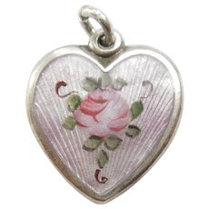 Walter Lampl Sterling Silver Puffy Heart Charm - Lavender Guilloche Enamel with Pink Rose