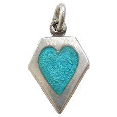 Sterling Silver Memory Heart Charm - Aqua Blue / Turquoise Enamel - Engraved 'Margaret'