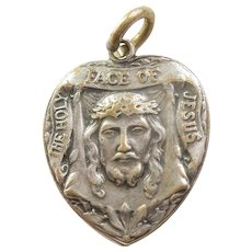 Unusual Double-sided Heart Charm with 'The Holy Face of Jesus' and 'St. Teresa of the Child Jesus'