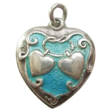Walter Lampl 'Lasso My Heart' Sterling Silver and Turquoise Enamel Puffy Heart Charm