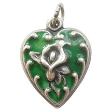 Sterling Silver Puffy Heart Charm - Repousse Calla Lily with Green Enamel