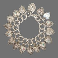 Exquisite Victorian Sterling Silver Puffy Heart Bracelet – 17 Hearts Including Padlock